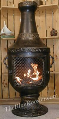 ALCH026GAGKLP Gas Powered Venetian Chiminea Outdoor Fireplace in Gold Accent - Liquid