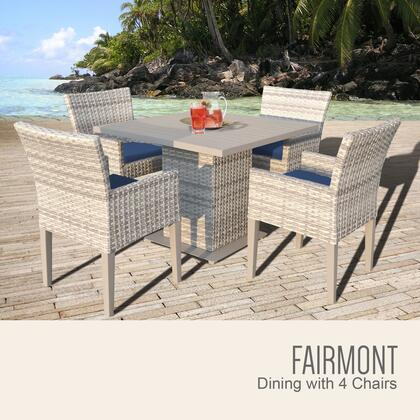 FAIRMONT-SQUARE-KIT-4DCC-NAVY Fairmont Square Dining Table with 4 Chairs with 2 Covers: Beige and