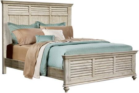 Shades of Sand Collection CF-2301-0489-QB Queen Size Panel Bed with Decorative Horizontal Slats  Planking and Molding Details in Antique