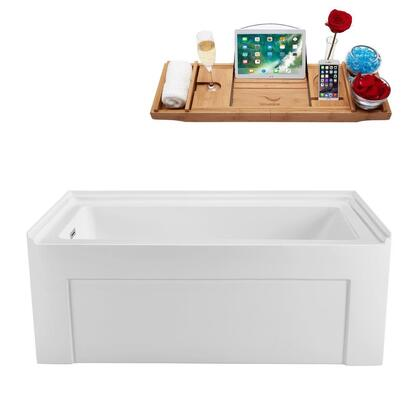 N50060ALWHLDFM 60 inch  Soaking Alcove Apron Tub with Internal Drain  Chrome Color Drain Assembly  61 Gallons Water Capacity  and Acrylic/Fiberglass Construction