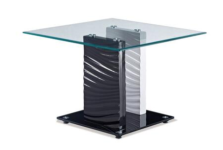 T1021E Glass Top End Table  Square Shape  Two Toned Glass