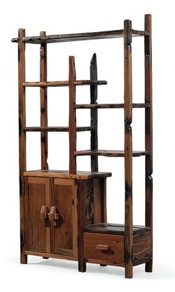 DS-S0421-R Arete Right Side Display Unit with 5 Shelves  1 Drawer  2 Doors and Wooden Hardware in Brown
