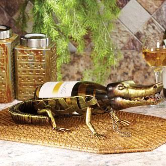 DFA1872 Wine Bottle Holder - Alligator in Green