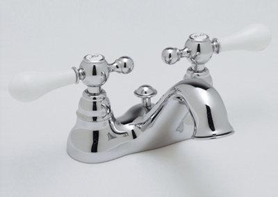 Ac95l-pn-2 4  Centerset Basin Mixer With Ornate Metal Lever  Works Only In Ca/vt States  Polished