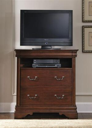 Carriage Court Collection 709-BR45 38 Media Chest with 3 Drawers  Hidden Top Drawer  Full Extension Glides and Bottom Case Dust Proofing in Mahogany Stain