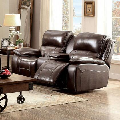 Ruth CM6783BR-LV Love Seat with Transitional Style  Plush Cushions  Cup Holders and Storage  Recliners in 783796