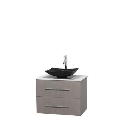 Wcvw00930sgowsgs4mxx 30 In. Single Bathroom Vanity In Gray Oak  White Man-made Stone Countertop  Arista Black Granite Sink  And No