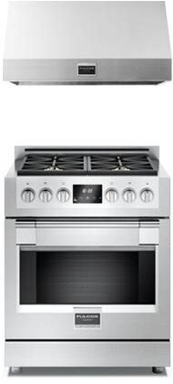2 Piece Kitchen Package With F6PGR304S1 30 inch  Gas Freestanding Range and F6PH36S1 30 inch  Professional Hood In Stainless