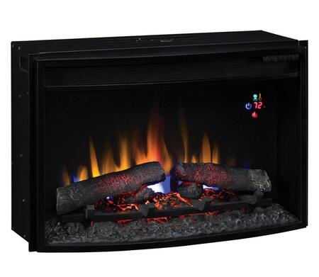 25EF031GRP 25 inch  SpectraFire Plus Curved Electric Fireplace Insert with Digital Thermostat  Tempered Front Glass  Auto Shut-Off Timer and Traditional Log Set in