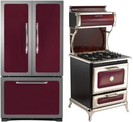 3-Piece Cranberry Kitchen Package with 301500RCRN 30 inch  Bottom Freezer Refrigerator  4210CDGCRN 30 inch  Freestanding Dual Fuel Range  and HCDWI1CRN 24 inch  Fully