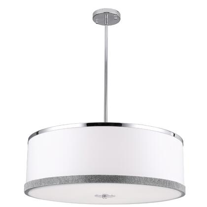 DEV-244P-PC 4 Light Pendant  Polished Chrome Finish  White Shade With Crystal Studded