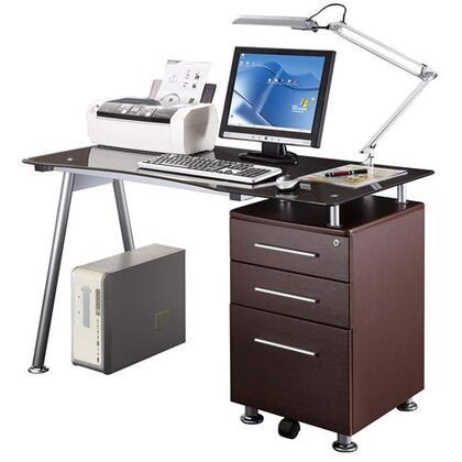 RTA-1565-CH36 Techni Mobili Glass-top Desk with Built-in File