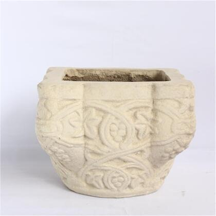 Tiffany PL-S8507 7 Planter with Detailed Relief Work and Artisan Cast Limestone Construction in Natural