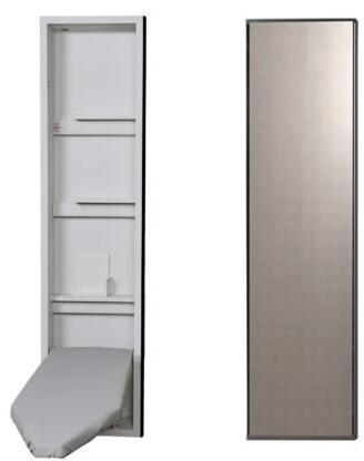 """NE46MDU 15"""" Ironing Center with 46"""" Ventilated Board  Garment Bar  Full Length Piano Hinge  and Hot Iron Storage: Mirror"""