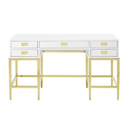 DSD153807 Contemporary Stainless Steel And Antique Glass Five Drawer Accent Desk In