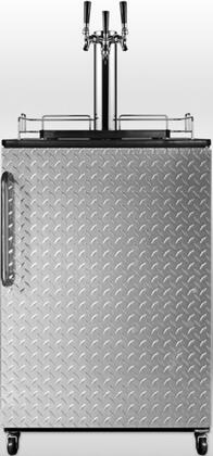 "SBC490DPLTRIPLE 24"" Commercial Triple Tap Beer Dispenser with 6.4 cu. ft. Capacity  Top Guard Rail  Adjustable Thermostat  Casters and Professional Towel Bar"
