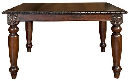 Valencia ZWVLGT14 62 inch  Square Gathering Table with Grand 'Ole Texas Style  Hand-Carved Details  Star Motif and Solid Mango Wood Construction in Brown
