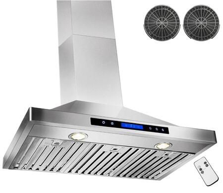 GWRB236 36 inch  Wall Mounted Range Hood with 760 CFM  65 dB  Innovative Touch  Halogen Lighting  3 Fan Speed  Stainless Steel Baffle Filter  Remote Control and