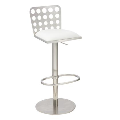 LCDUBAWHB201 Dune Contemporary Barstool In White and Stainless