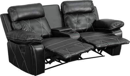 BT-70530-2-BK-CV-GG Real Comfort Series 2-Seat Reclining Black Leather Theater Seating Unit with Curved Cup 548621
