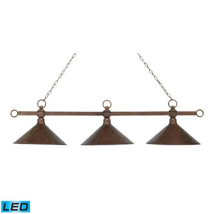 182-AC-M2-LED Designer Classics 3-Light Billiard/Island in Antique Copper with Hand Hammered Iron Shades -
