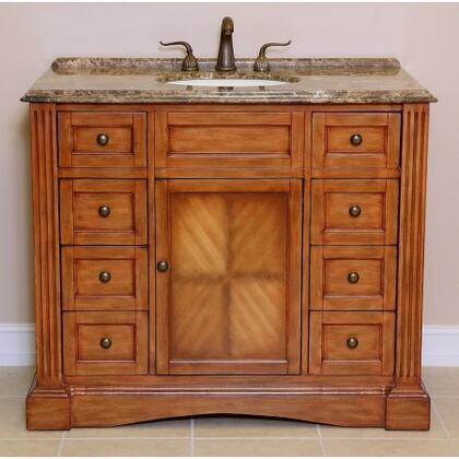 Concorde A0701BR 42 inch  Single Sink Vanity with Brown Marble Top  1 inch  Backsplash  1 Porcelain Undermount Sink  1 Door  1 Shelf and 8 Felt-lined Drawers with Metal