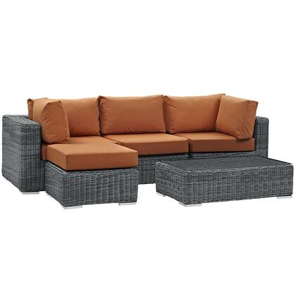 Summon Collection EEI-1904-GRY-TUS-SET 5-Piece Outdoor Patio Sunbrella Sectional Set with Armless Chair  Coffee Table  Ottoman and 2 Corner Sections in Canvas