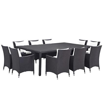Convene Collection EEI-2240-EXP-WHI-SET 11-Piece Outdoor Patio Dining Set with Dining Table and 10 Armchairs in Espresso and