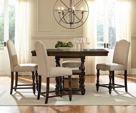 McGregor Collection 17736-4CS 5-Piece Dining Room Set with Rectangular Counter Height Table and 4 Counter Height Stools in Brown and