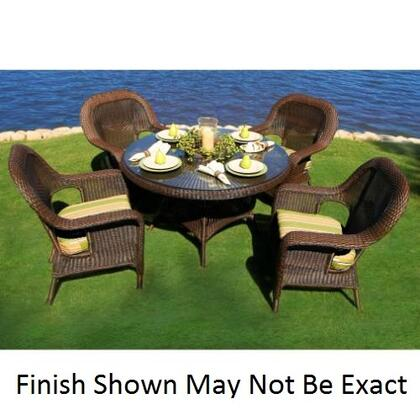 LEX-5DS3-T Sea Pines 5 Piece Dining Set With 4 Dining Chairs  1 Table  Powder Coated Aluminum Frames  100% Spun Polyester Cushions & In