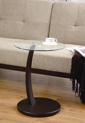 900256 Round Accent Table with Glass Top and Cappuccino Base by Coaster