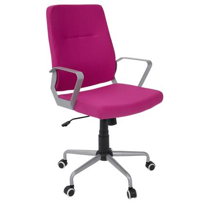 OFC-ZIP GY+HP Zip Contemporary Office Chair in Hot Pink Fabric with Silver