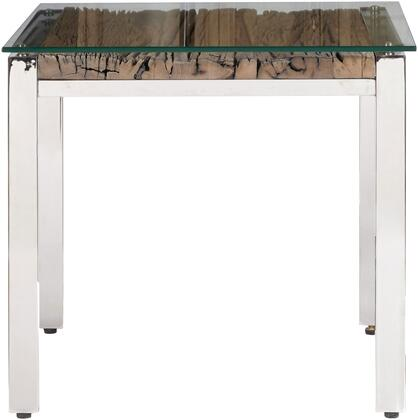 P050441BT Julian Table with Polished Stainless-Steel Legs and Frame  Rustic Wood Top and Glass Overlay Top in Stainless