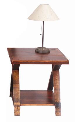 992005 Traversa End Table with Curved Barrel Stave Legs and a Laminated  Recycled Board Top and Lower Shelf in