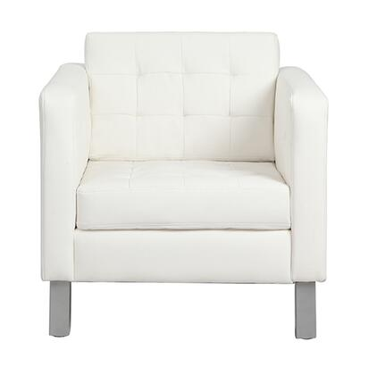 8180-IVORY Rissanti Pen Club Accent Chair with Bonded Leather Seat and Silver Coated Legs in