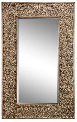 Roslyn Manor Collection 13461 76 inch  Wall Mirror with Raised Rose  Patterned Frame  Rectangular Shape and Powder Glaze in