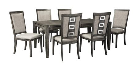 Chadoni D624ET6C 7-Piece Dining Room Set with Rectangular Extension Dining Room Table and 6 Dining Room Side Chairs in