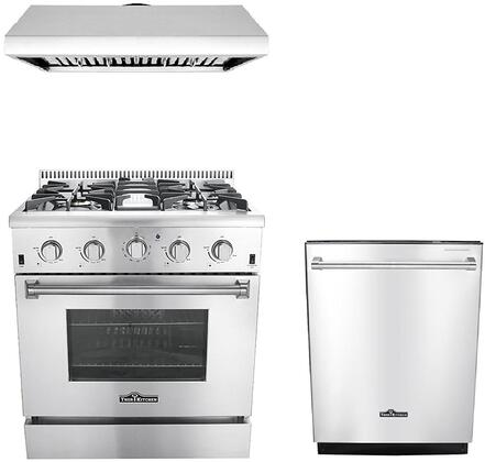 3-Piece Stainless Steel Kitchen Package with HRD4803U 48 inch  Dual Fuel Freestanding Range  HRH3006U 48 inch  Under Cabinet Range Hood  and HDW2401SS