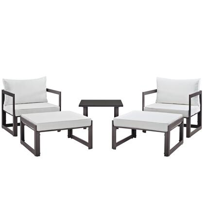 Fortuna Collection EEI-1721-BRN-WHI-SET 5-Piece Outdoor Patio Sectional Sofa Set with Side Table  2 Ottomans and 2 Single Sofas in Brown and