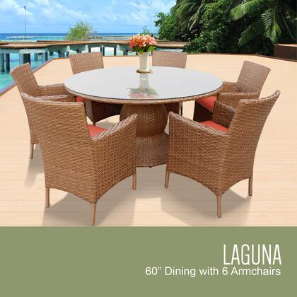Laguna-60-kit-6-tangerine Laguna 60 Inch Outdoor Patio Dining Table With 6 Chairs W/ Arms With 2 Covers: Wheat And