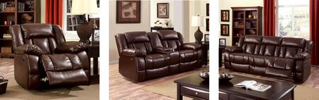 Wimbledon Collection CM6314-SLR 3-Piece Living Room Set with Motion Sofa  Motion Loveseat and Recliner in