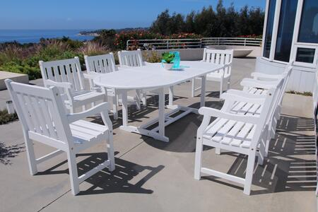 V1335SET22 Bradley Outdoor 9-Piece Wood Patio Dining Set With Extension Table In