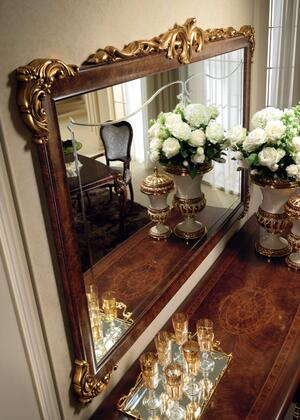 """Donatello_DONATELLOBMIRROR_65""""_x_45""""_Mirror_with_Wooden_Frame_and_Carved_Detailing_in_Walnut"""