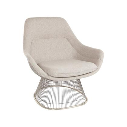 Platner FB9180WHEATCHR Easy Chair with Stainless Steel Base  Piped Stitching and Fabric Upholstery in Wheat and
