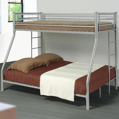 Denley Collection 460062 Twin over Full Bunk Bed with Full Length Guard Rails  Built-In Ladder and Metal Construction in Silver