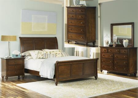 Hamilton Collection 341-BR-KSLDMCN 5-Piece Bedroom Set with King Sleigh Bed  Dresser  Mirror  Chest and Night Stand in Cinnamon