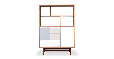 STO-BS-PLATFORM-ASH Platform Upright Cabinet  Mid-Century Modern Bookcase  Natural