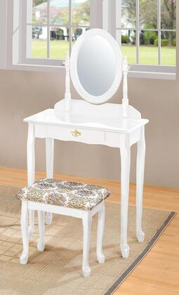 Queen Anne Collection 02337WH 3 PC Pack Vanity Set with 1 Drawer Vanity Table  Swivel Mirror  Fabric Cushion Seat Stool and Wood Veneer Construction in White