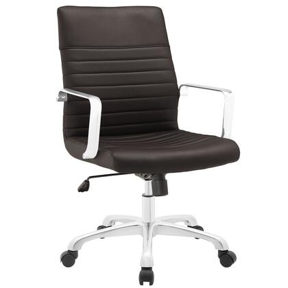 Finesse Collection EEI-1534-BRN Office Chair with 360 Degree Swivel  Mid Backrest  Adjustable Height  Polished Aluminum Frame and Ribbed Vinyl Upholstery in