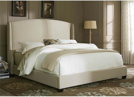 100-BR-KSH King Shelter Bed with Nail Head Trim  Fabric Upholstery and Tapered Block Feet in Natural Linen